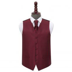 Burgundy Solid Check Wedding Waistcoat & Cravat Set