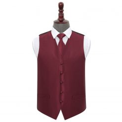 Burgundy Solid Check Wedding Waistcoat & Tie Set