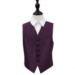 Cadbury Purple Solid Check Wedding Waistcoat for Boys