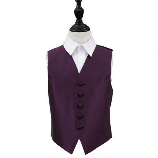 Cadbury Purple Solid Check Wedding Waistcoat for Boys