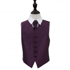 Cadbury Purple Solid Check Wedding Waistcoat & Cravat Set for Boys