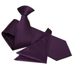 Cadbury Purple Solid Check Clip On Slim Tie & Pocket Square Set