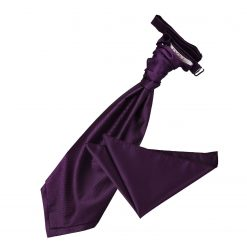 Cadbury Purple Solid Check Wedding Cravat & Pocket Square Set