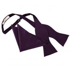 Cadbury Purple Solid Check Self-Tie Bow Tie & Pocket Square Set