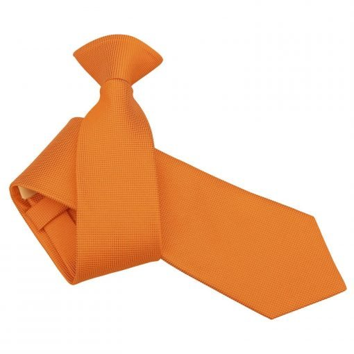Celosia Orange Solid Check Clip On Slim Tie