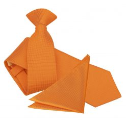 Celosia Orange Solid Check Tie & Pocket Square Set