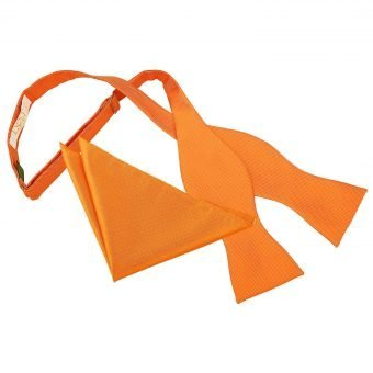 Celosia Orange Solid Check Self-Tie Bow Tie & Pocket Square Set