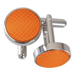 Celosia Orange Solid Check Cufflinks