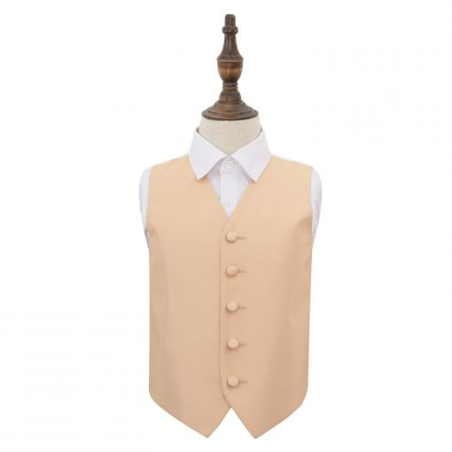 Champagne Solid Check Wedding Waistcoat for Boys