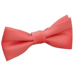 Coral Solid Check Pre-Tied Bow Tie for Boys