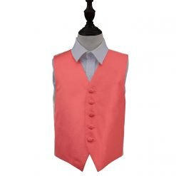 Coral Solid Check Wedding Waistcoat for Boys