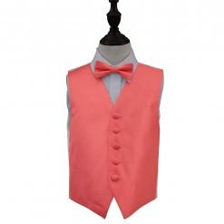 Coral Solid Check Wedding Waistcoat & Bow Tie Set for Boys