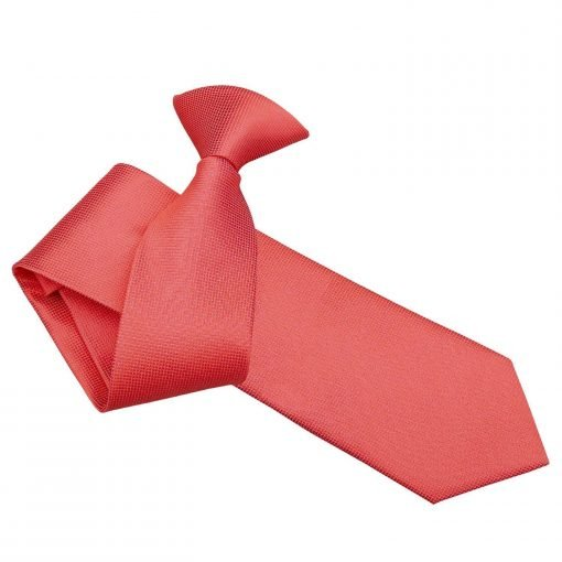 Coral Solid Check Clip On Slim Tie