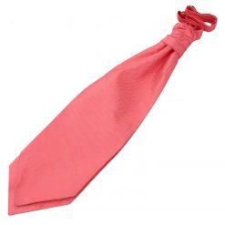 Coral Solid Check Pre-Tied Wedding Cravat