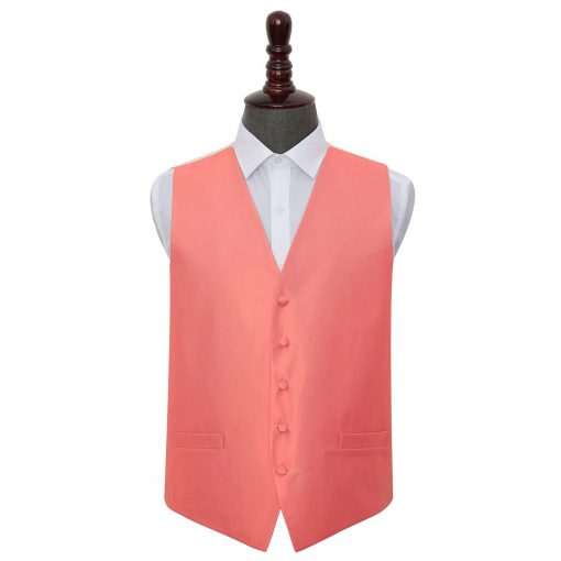 Coral Solid Check Wedding Waistcoat