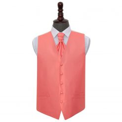 Coral Solid Check Wedding Waistcoat & Cravat Set