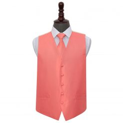Coral Solid Check Wedding Waistcoat & Tie Set