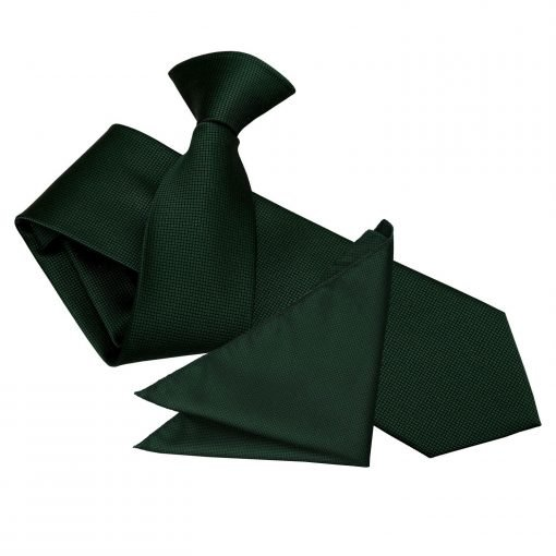 Dark Green Solid Check Clip On Slim Tie & Pocket Square Set