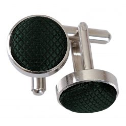 Dark Green Solid Check Cufflinks