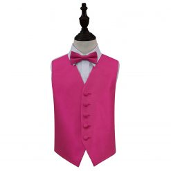 Fuchsia Pink Solid Check Wedding Waistcoat & Bow Tie Set for Boys