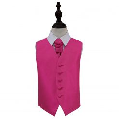 Fuchsia Pink Solid Check Wedding Waistcoat & Cravat Set for Boys