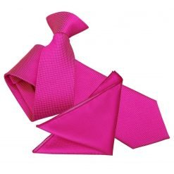 Fuchsia Pink Solid Check Clip On Slim Tie & Pocket Square Set
