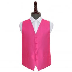 Fuchsia Pink Solid Check Wedding Waistcoat