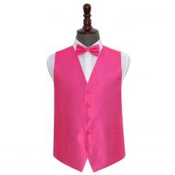 Fuchsia Pink Solid Check Wedding Waistcoat & Bow Tie Set