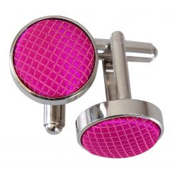 Fuchsia Pink Solid Check Cufflinks