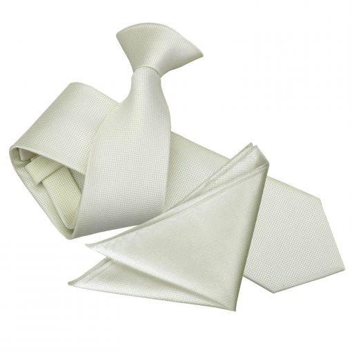 Ivory Solid Check Clip On Slim Tie & Pocket Square Set