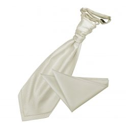 Ivory Solid Check Wedding Cravat & Pocket Square Set