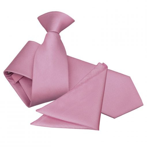 Light Pink Solid Check Clip On Slim Tie & Pocket Square Set