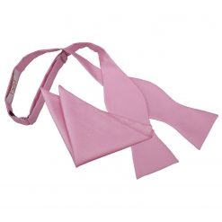 Light Pink Solid Check Self-Tie Bow Tie & Pocket Square Set