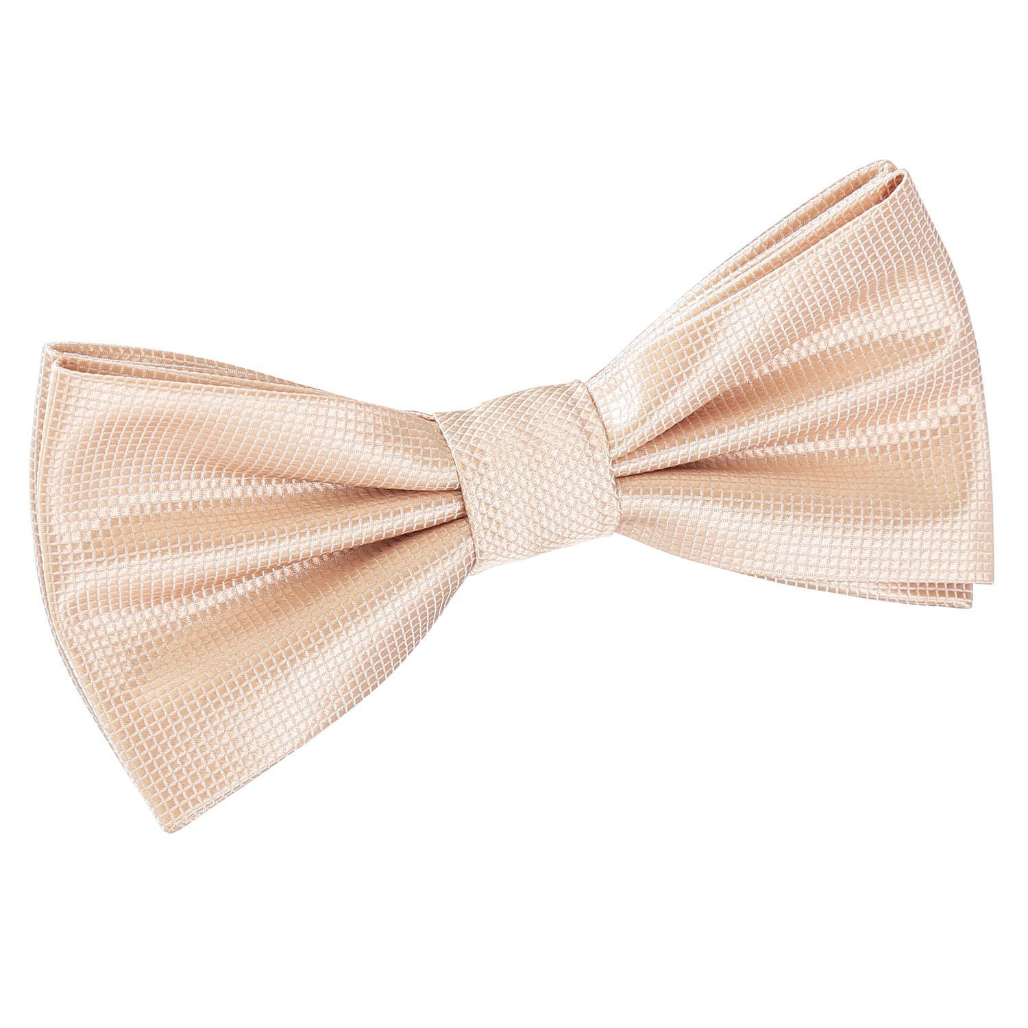 75264ac13a8b Details about DQT Woven Plain Solid Check Champagne Formal Classic Mens Pre-Tied  Bow Tie