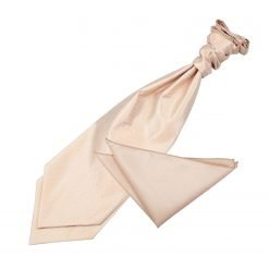 Champagne Solid Check Wedding Cravat & Pocket Square Set