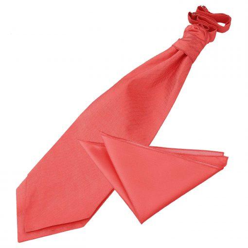Coral Solid Check Wedding Cravat & Pocket Square Set