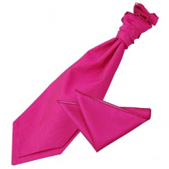 Fuchsia Pink Solid Check Wedding Cravat & Pocket Square Set