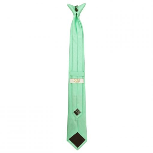 Mint Green Solid Check Clip On Slim Tie