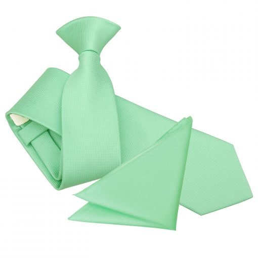 Mint Green Solid Check Clip On Slim Tie & Pocket Square Set