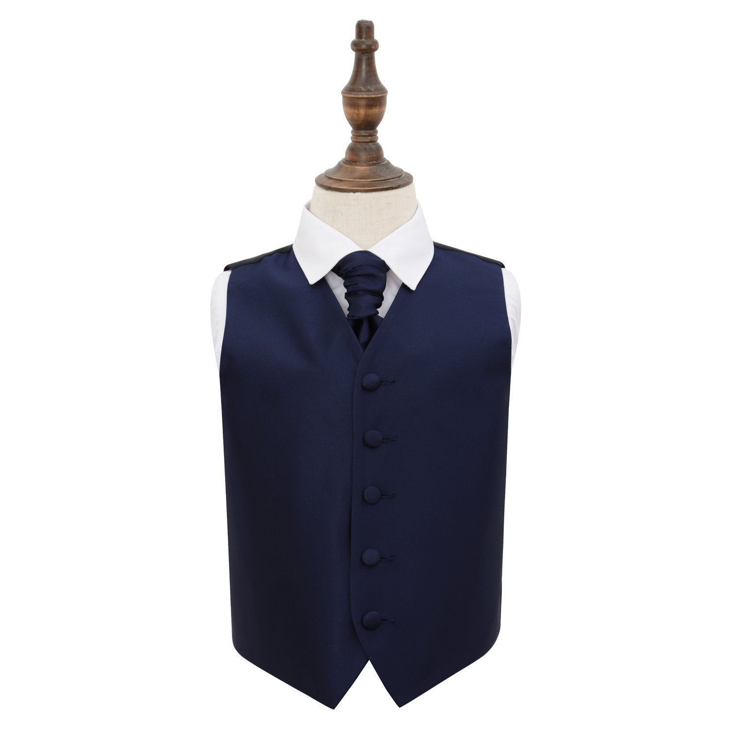 DQT Satin Plain Solid Royal Blue Mens Wedding Waistcoat /& Cravat Set