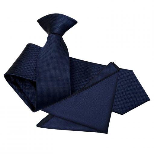 Navy Blue Solid Check Clip On Slim Tie & Pocket Square Set