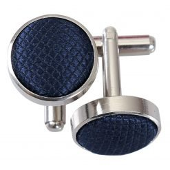 Navy Blue Solid Check Cufflinks