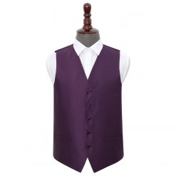Cadbury Purple Solid Check Wedding Waistcoat