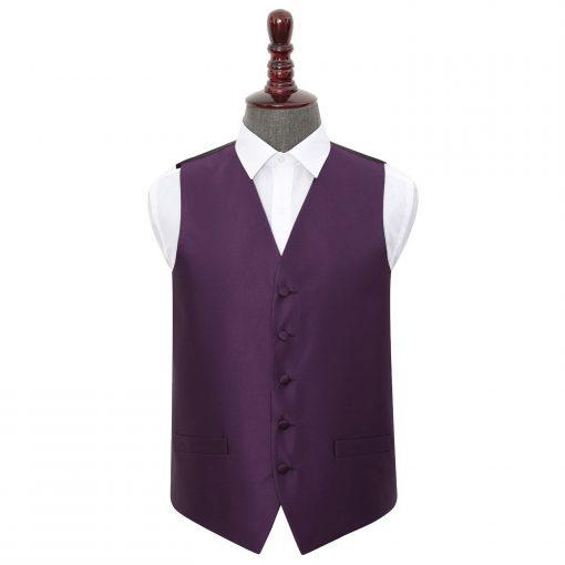 Cadbury Purple Solid Check Wedding Waistcoat