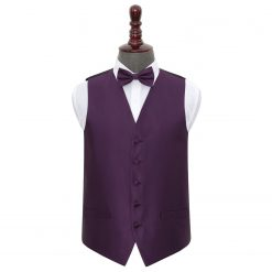Cadbury Purple Solid Check Wedding Waistcoat & Bow Tie Set