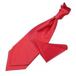 Red Solid Check Wedding Cravat & Pocket Square Set