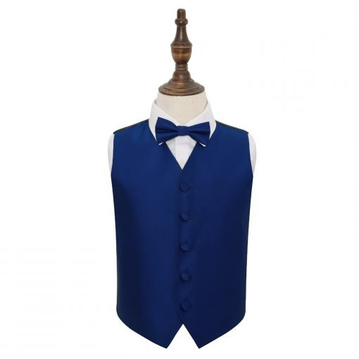Royal Blue Solid Check Wedding Waistcoat & Bow Tie Set for Boys