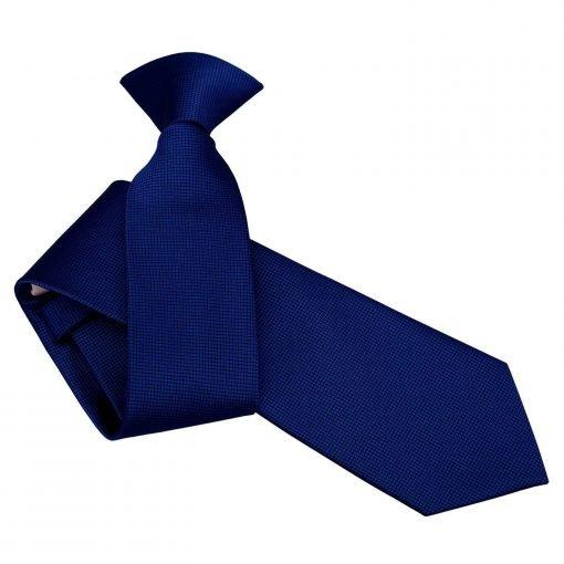 Royal Blue Solid Check Clip On Slim Tie