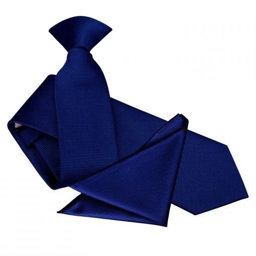 Royal Blue Solid Check Clip On Slim Tie & Pocket Square Set