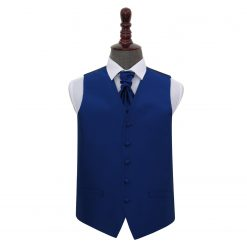 Royal Blue Solid Check Wedding Waistcoat & Cravat Set